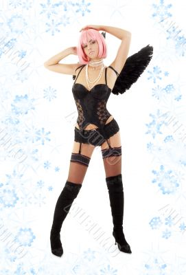 black lingerie angel with pink hair and snowflakes