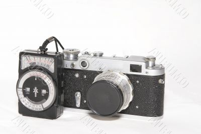 Old foto camera and exposure measuring device