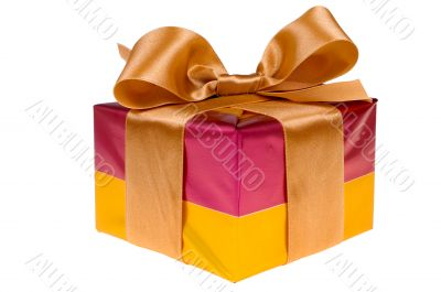 Presents with gold ribbon isolated on white background