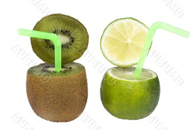 Lime and kiwi abstract fruit drink.