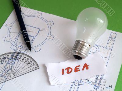Idea, bulb, pencil on draught