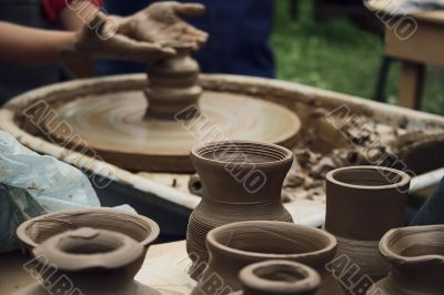 Potter working