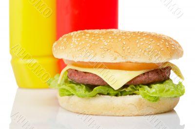 Cheeseburger with mustard and ketchup