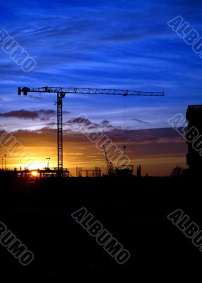 Cranes and construction site