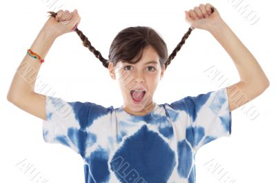 girl holding braids and shouting