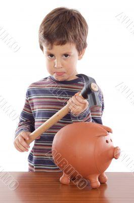 boy breaking the money box