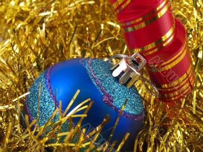 Christmas blue ornaments and ribbons