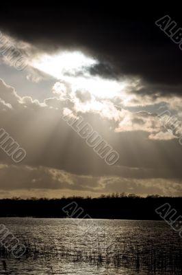 The sun setting in the Naarder Lake