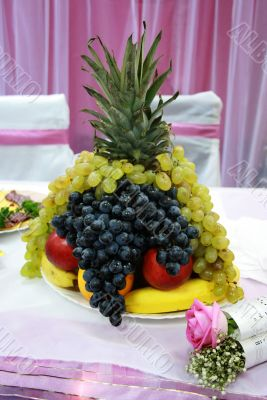 Decorating of a table by fruit