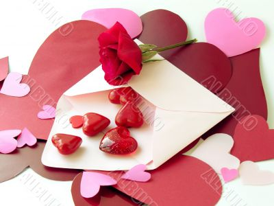 red rose and love letters
