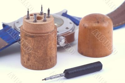 Ancient set of screw-drivers for watch.