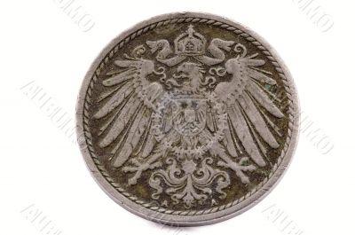The head on the ancient shabby German coin
