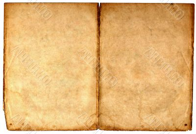 Old blank book open on both pages.