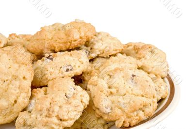 Oatmeal Chocolate Chip Cookie Isolated