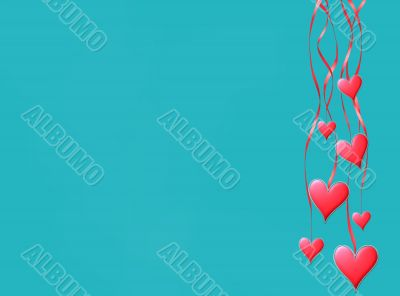 Pink hearts hang on tapes