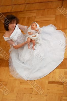 young mother on the parquet