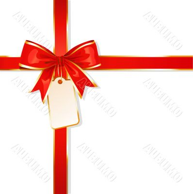 ribbon / red bow / with card / vector illustration