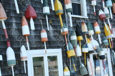 Lobster floats, on side of house