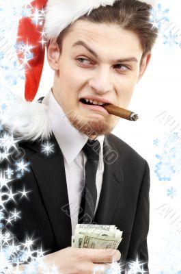 bad santa with snowflakes