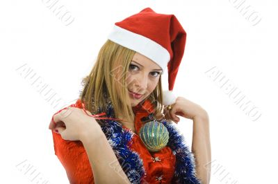 Beautiful woman with christmas decoration