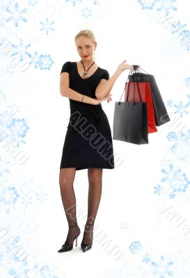 shopping blond in black dress with snowflakes 3