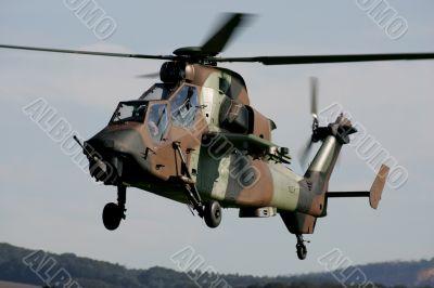 Helicopter gunship hovering