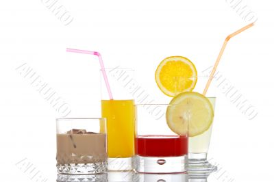 Glasses with beverages