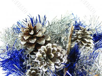 Christmas and New Year`s ornament with cones