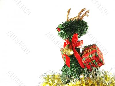 Christmas and New Year`s ornament with a deer