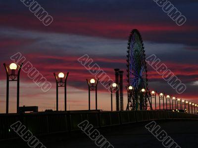 twilight city scene