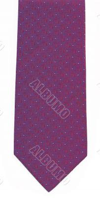 Purple man`s tie on a white background