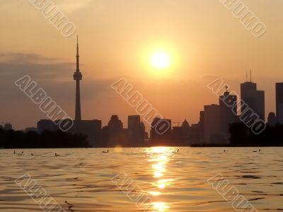 Sunset Lake view of downtown Toronto