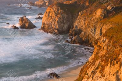 California`s Pacific Shore at Sunset