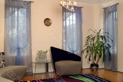 Interior of suburban house with draperies 5