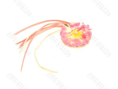 Rose decorative flower with rose ribbons and gold cords