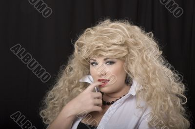 Blonde Wig finger in Mouth