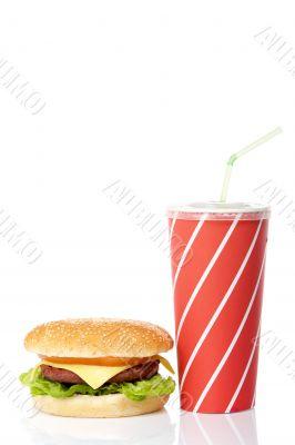 Cheeseburger and soda drink