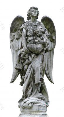 Mature marble angel figurine sculpture