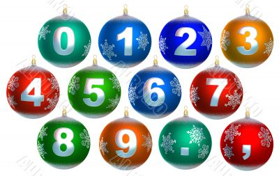 Collection of 12 shiny christmas baubles, with numbers, period a