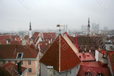 Cloudy view on old city of Tallinn. Estonia