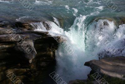Detail, waterfalls,Athabasca Falls