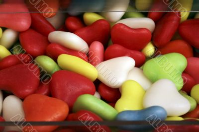 multi-color heart-shaped candy