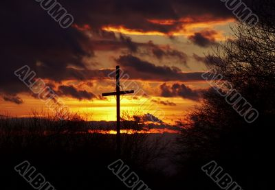 sunset and wayside cross