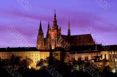 Prague castle at evening
