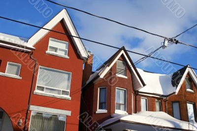 Snowed townhouses in downtown Toronto