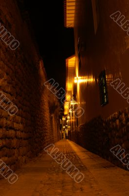 Night street in Cusco, Peru