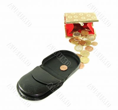 Man`s and female purse with coins and credit cards