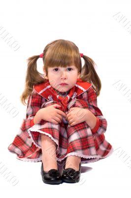 Serene worried little girl