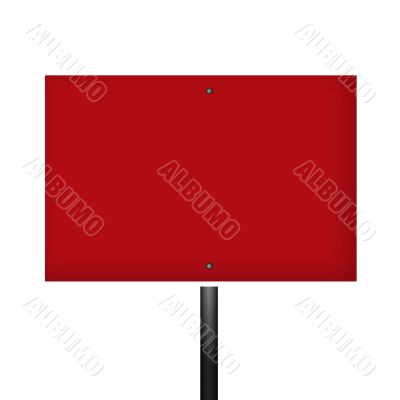Blank Red White Warning Sign