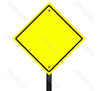 Isolated Blank Yellow Graphic Street Sign